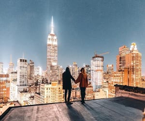 couple, new york, and night image