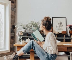 girl, outfit, and book image