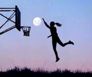 Basketball, girl, and moon image