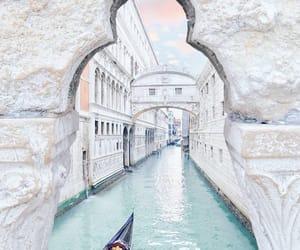 gondola, ocean, and white image