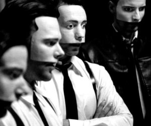 rammstein, du hast, and black and white image