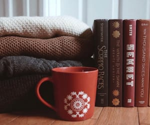book, sweater, and coffee image