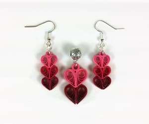 heart necklace, heart jewelry, and heart earrings image