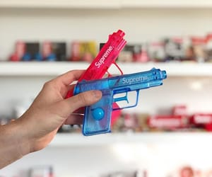 blue, supreme, and gun image
