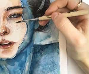 art, girl, and drawing image