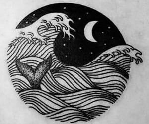 mermaid, moon, and ocean image