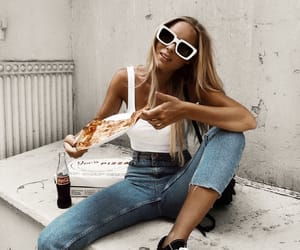 pizza, fashion, and girl image