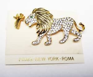 etsy, rhinestone brooch, and lion brooch image