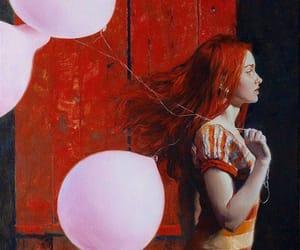 pink balloons redhead image