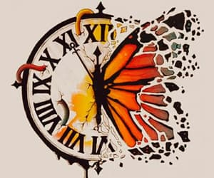 butterfly, art, and clock image