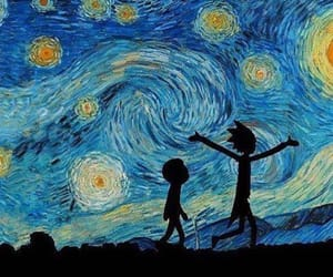 rick and morty and van gogh image