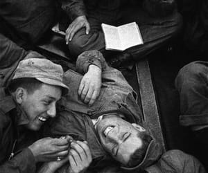 black and white, soldiers, and smile image