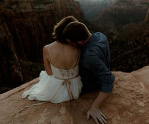 couple, scenery, and snuggle image