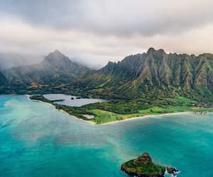 ocean beautiful island, photography art beach, and clouds green love image