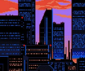 city, pixel, and purple image