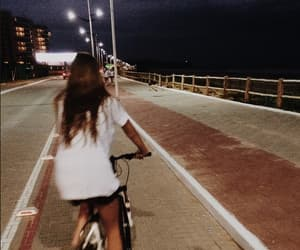 girl, bike, and night image