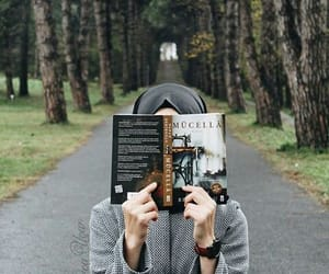 book, hijab, and reading image