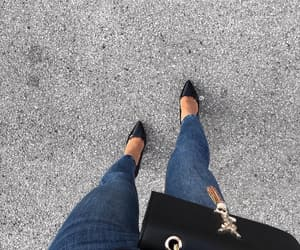 black, heels, and jeans image