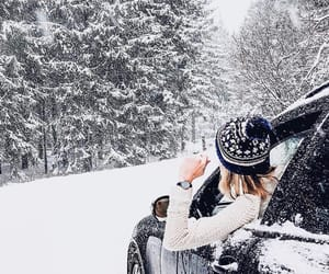 car, girl, and winter image