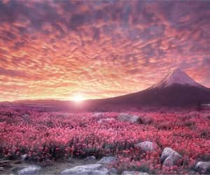 clouds, flowers, and mountains image