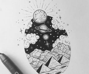 clouds, drawing, and moon image