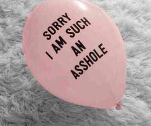 asshole, sorry, and balloons image