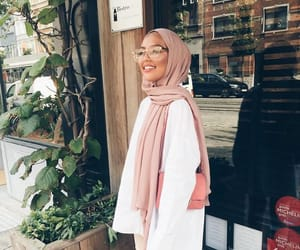 hijab, pink, and arab image