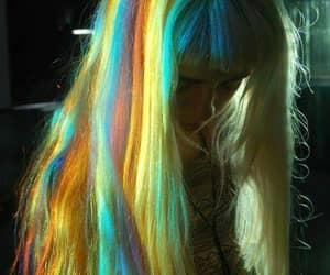 hair, girl, and rainbow image