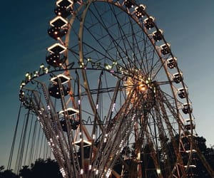 lights, ferris wheel, and night image