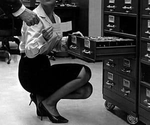 black and white, office, and Secretary image