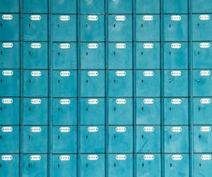 blue, letterbox, and postal image