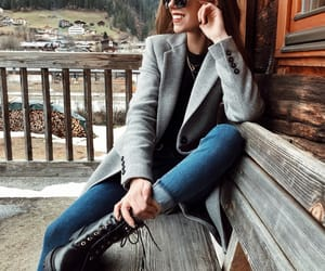 blogger, boots, and coat image