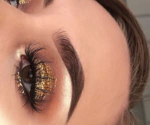 eyelashes, gold, and makeup image