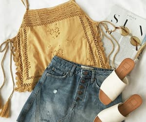 summer, outfit, and yellow image