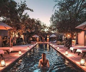 girl, pool, and light image