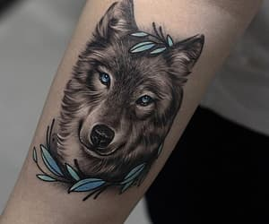 tattoo, art, and wolf image