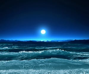 moon, blue, and sea image