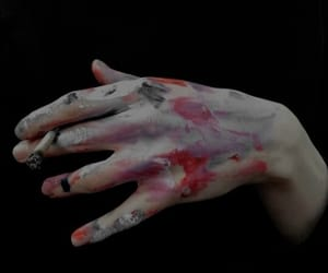 cigarette, hands, and paint image