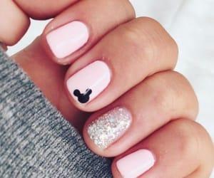 nails, disney, and pink image