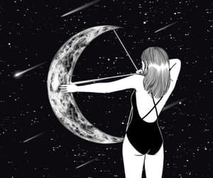 moon, art, and gif image
