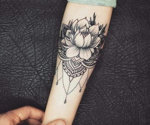 arm, flower, and tattoo image