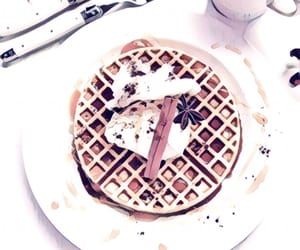 breakfast, waffle, and pink image