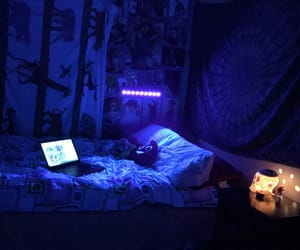 bedroom, lights, and teenagers image