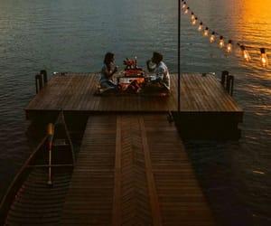 couple, lake, and lights image