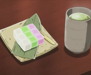 snack, tea, and anime food image