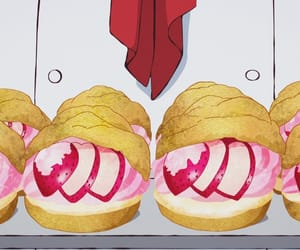 anime food, choux creme, and strawberry cream puffs image