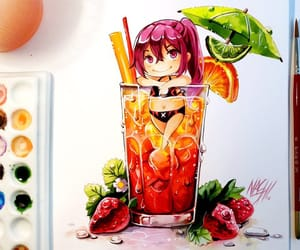 anime, art, and cocktail image