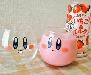 kirby, milk, and strawberry image