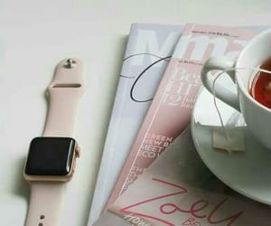 apple, tea, and magazine image