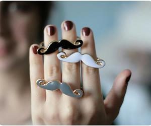 rings, mustache, and black image